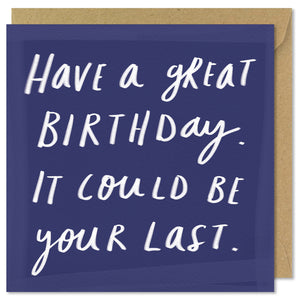 blue square birthday card
