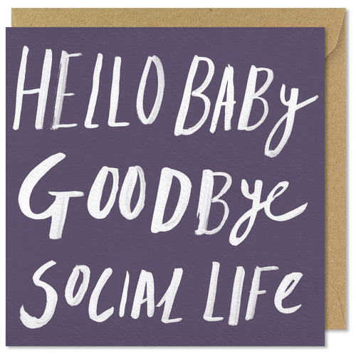 purple square card hello baby goodbye social life