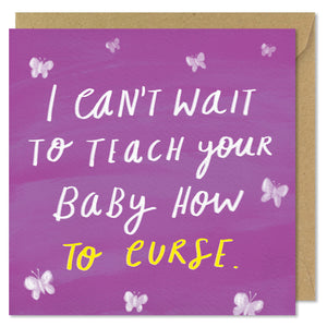 purple square new baby card