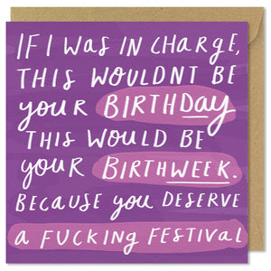 purple square birthday card