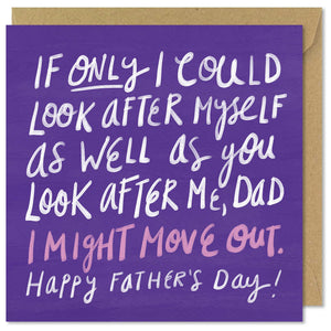 purple square father's day greeting card
