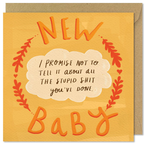 orange new baby card