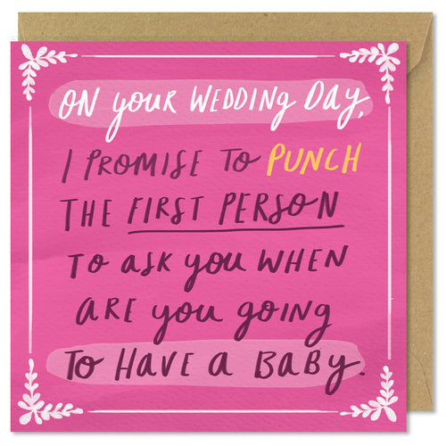 pink square wedding card