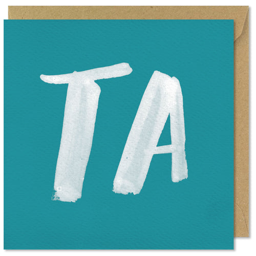 turquoise square thank you card ta