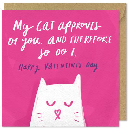 pink square valentines day cat card