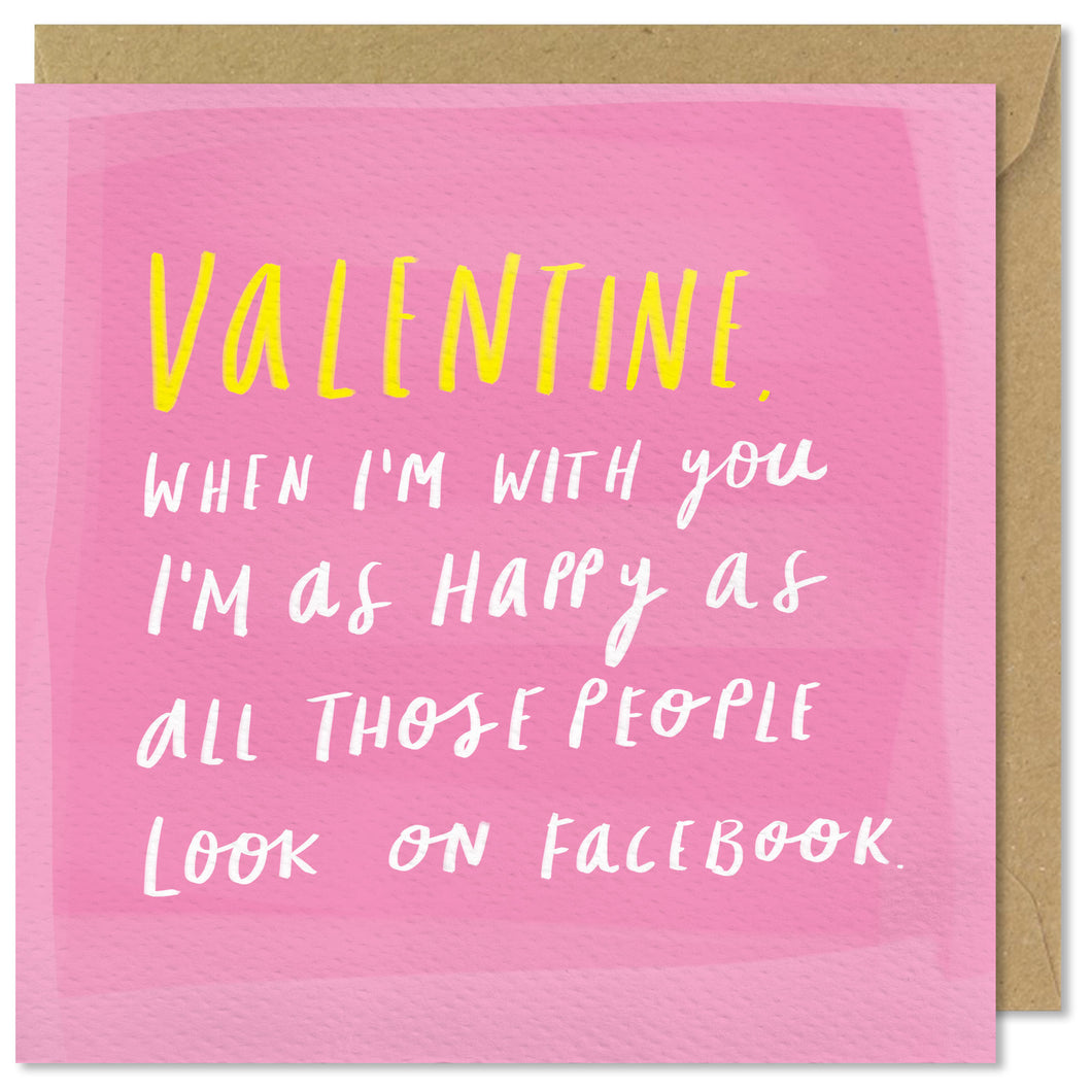 pink square valentines day card
