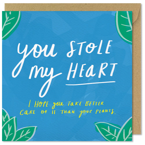 blue square valentines day card