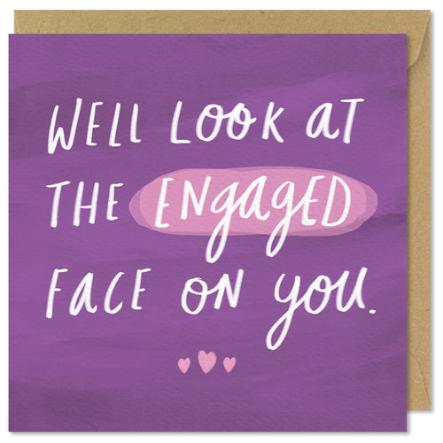 purple square engaged card