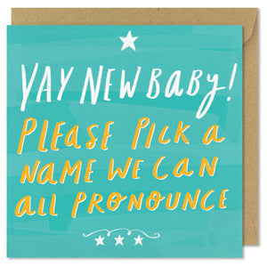 green square new baby card