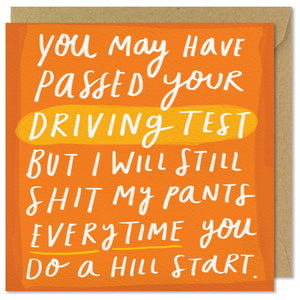 orange square driving test card