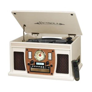Victrola Wood 8-in-1 Nostalgic Bluetooth Record Player with USB Encoding and 3-speed Turntable - Blind Tiger Record Club