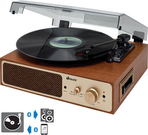 Jensen JTA-245 Dual Bluetooth Wireless Turntable 3 Speeds CassettePlayer with Built in Speakers and Headphone Jack Wood Look (Brown) - Blind Tiger Record Club