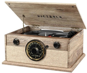 Victrola VTA-245B-FOT 4-in-1 Cambridge Farmhouse Modern BluetoothTurntable 3 Speeds with FM Radio Built in Speakers (Farmhouse Oatmeal) - Blind Tiger Record Club