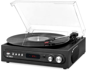 Victrola VTA67BLK Retro 3-in-1 Bluetooth Wireless Turntable 3 SpeedsBuilt in Speakers FM Radio (Black) - Blind Tiger Record Club