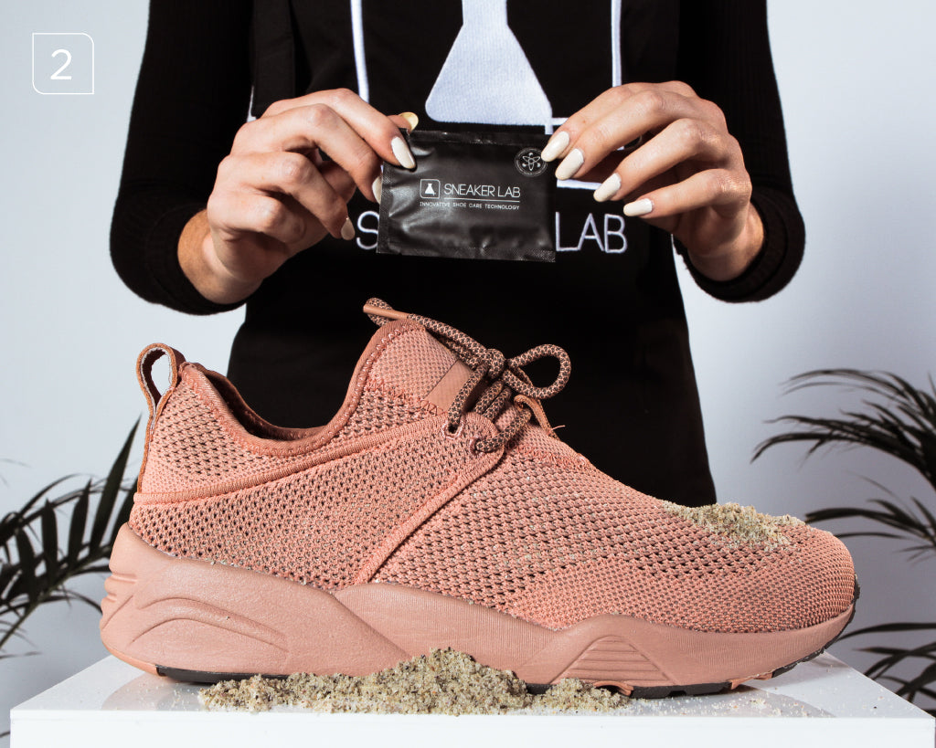 e67054b87406 Remove excess dirt by wiping the entire sneaker using Sneaker LAB Sneaker  Wipes. Wipe Pink Puma