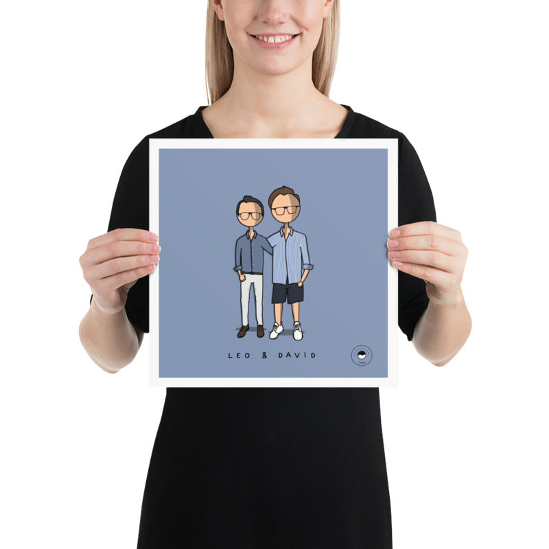2 people customized cartoon + Free Sticker