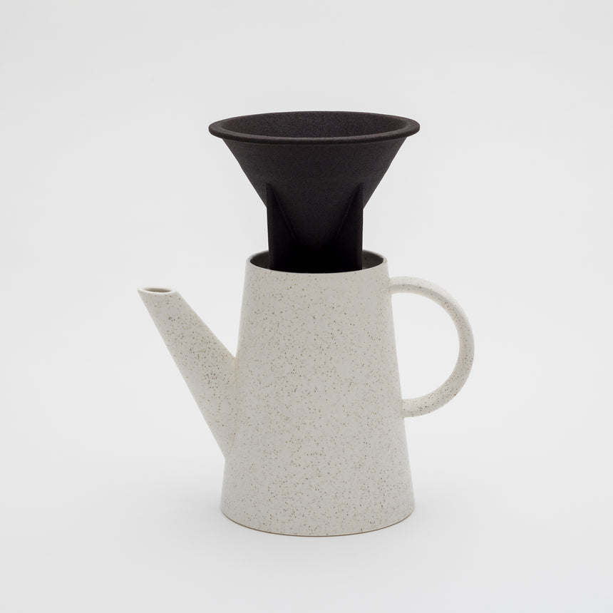 Sprinkle style coffee pot designed by Big Game for Arita 2016. Contemporary shape. Off-white with gold sprinkle. Fitted top.