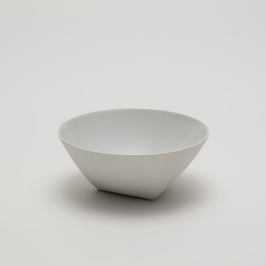 Medium white porcelain bowl designed by Christian Haas for Arita 2016. Handmade in Japan. Contemporary ceramic, glazed interior, unglazed exterior, thin profile.