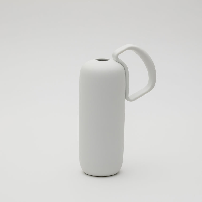 Contemporary porcelain flower vase designed by Leon Ransmeier for Arita 2016. Matte white finish. Contemproary ceramics.
