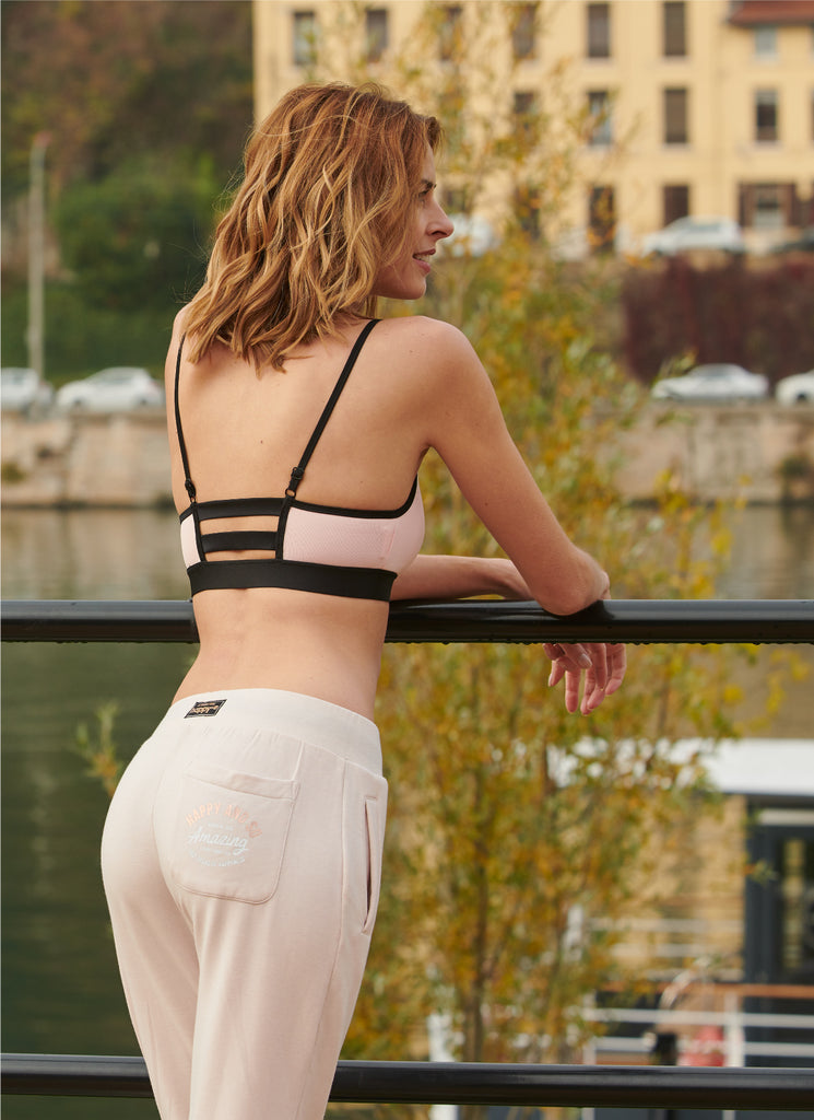 PANTALON MOLLETON SWEET PINK - NOIR - Happy & So