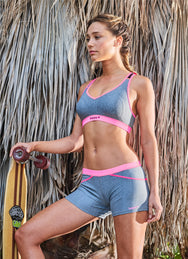 SHORTY FITNESS GRIS CHINE - ROSE FLUO