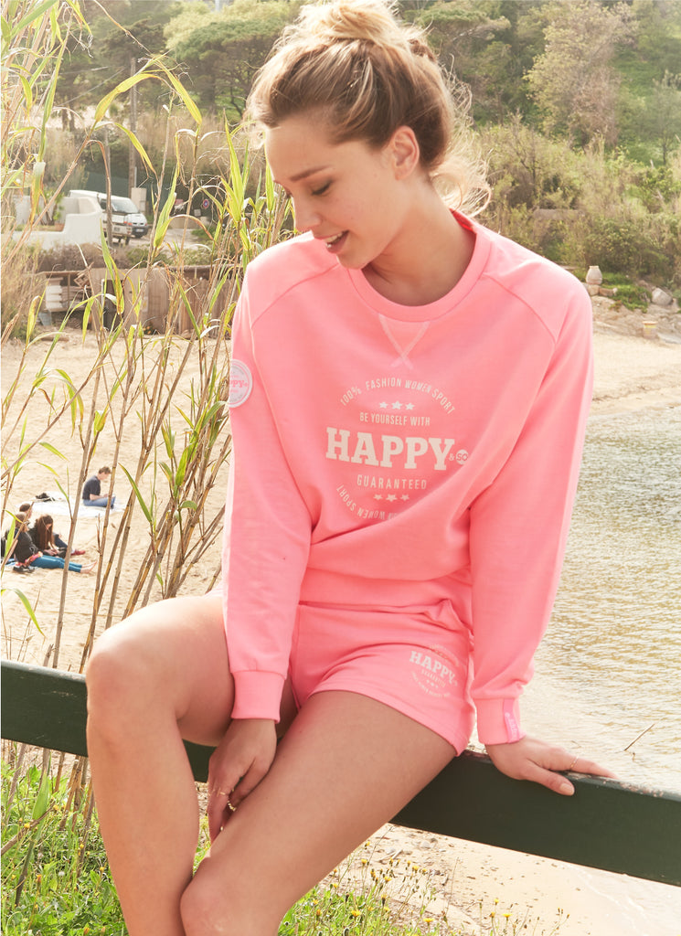 SHORT FRENCH TERRY ROSE FLUO - BLANC - Happy & So
