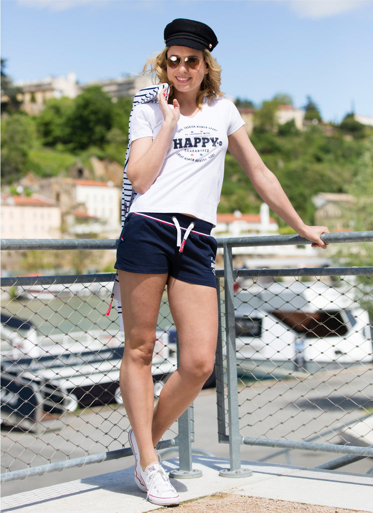 SHORT FRENCH TERRY MARINE - BLANC - Happy & So