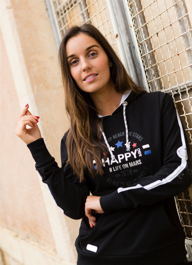 SWEAT CAPUCHE FRENCH TERRY NOIR - ARGENT - Happy & So