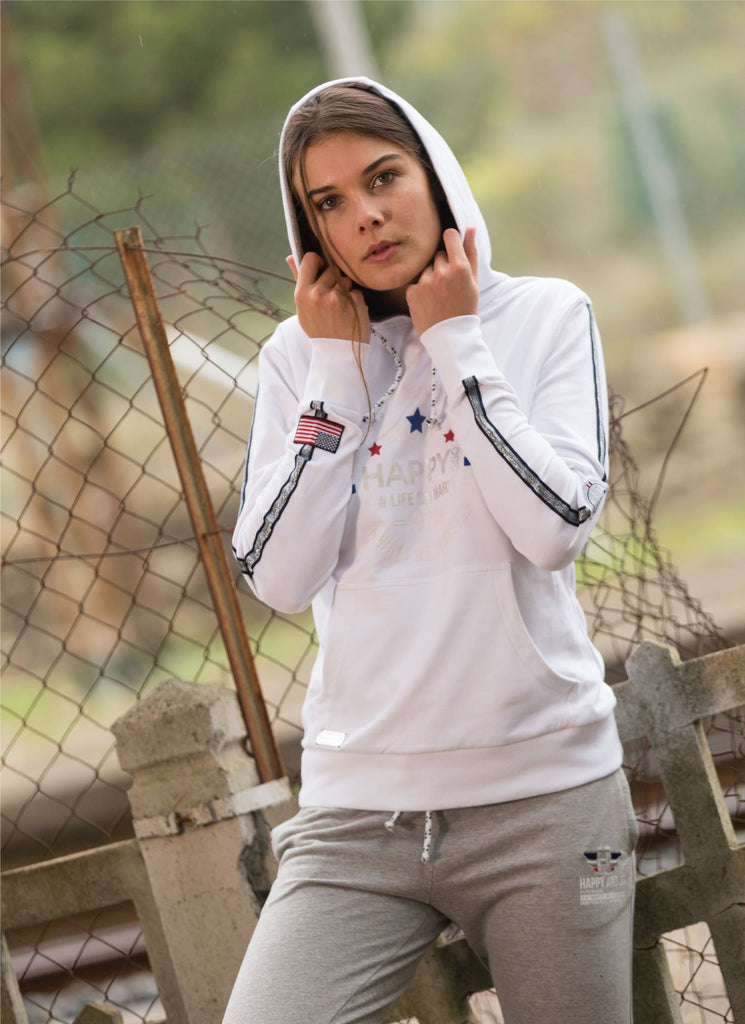 SWEAT CAPUCHE FRENCH TERRY BLANC - ARGENT - Happy & So