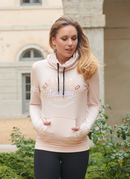 SWEAT COL CHEMINEE MOLLETON SWEET PINK - NOIR