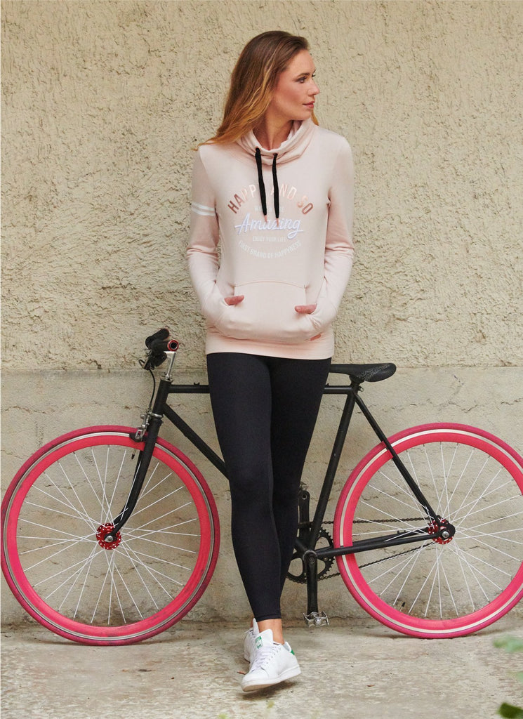 SWEAT COL CHEMINEE MOLLETON SWEET PINK - NOIR - Happy & So