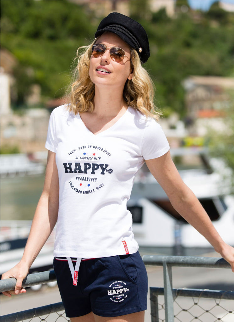 TEE-SHIRT COTON BLANC - MARINE - Happy & So