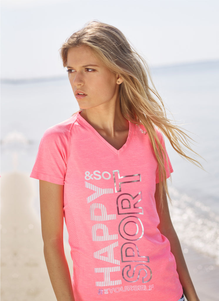TEE-SHIRT SEAMLESS ROSE FLUO - ARGENT - Happy & So