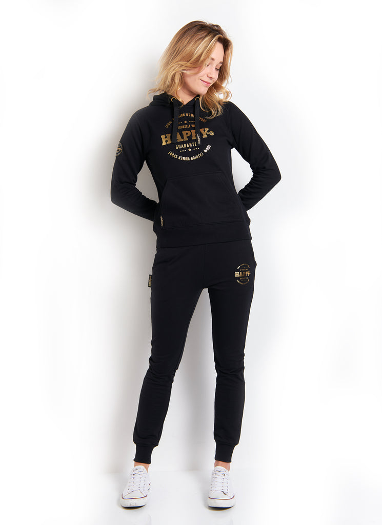 PANTALON MOLLETON LEGER NOIR GOLD - Happy & So