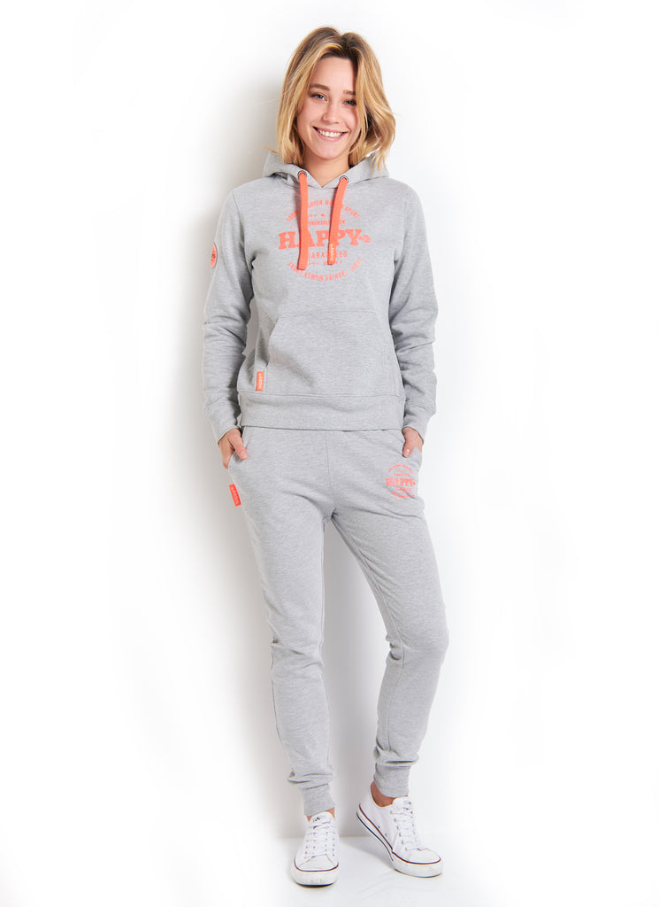 SWEAT CAPUCHE MOLLETON GRIS CHINE CORAIL FLUO - Happy & So