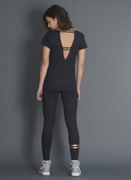 LEGGING STRIPES NOIR - GOLD