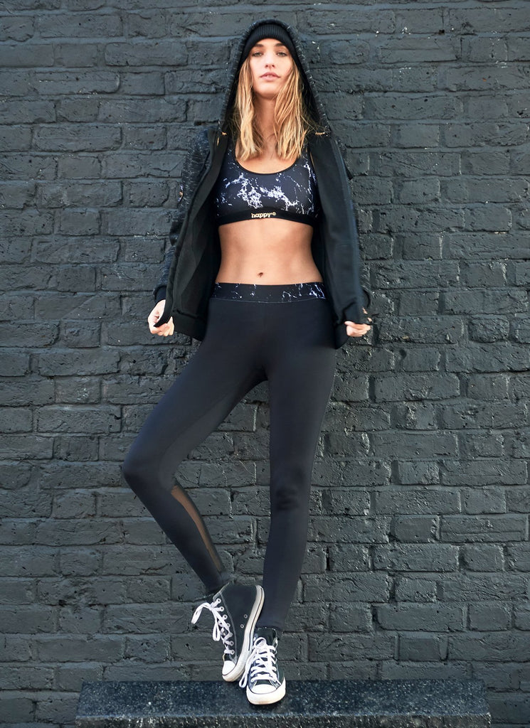 LEGGING RESILLE NOIR - BLACK MARBLE - Happy & So