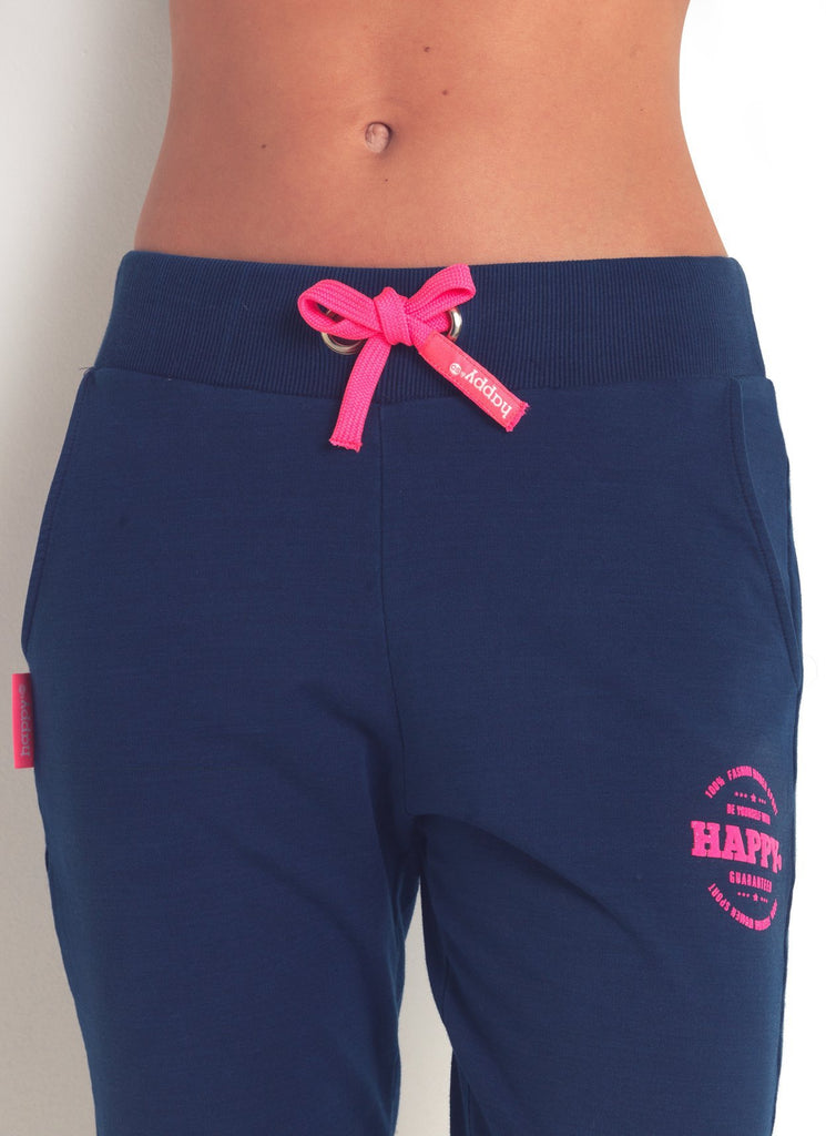 PANTALON MOLLETON LEGER MARINE ROSE FLUO - Happy & So