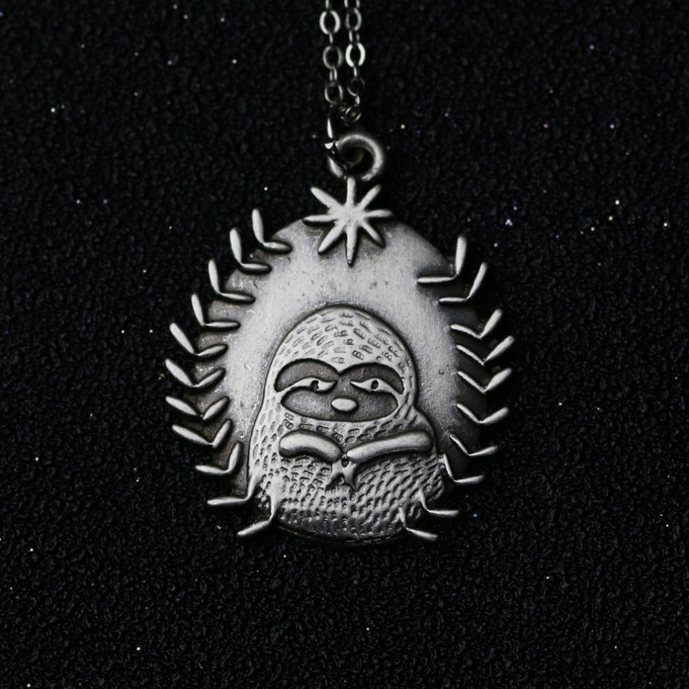 shaped statement pendant derpy products in sloth necklace adorable silver