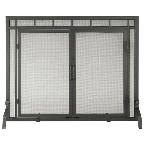 Minuteman Mission Style Screen, Black Wrought Iron With Doors
