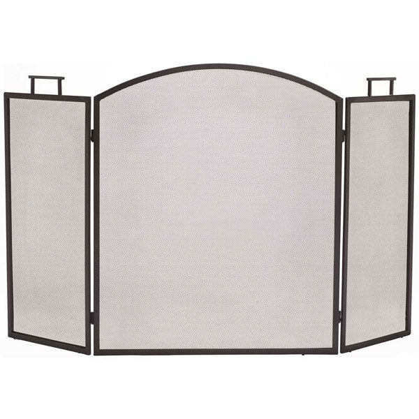 Classic 3-Panel Fireplace Screen, Antique Black
