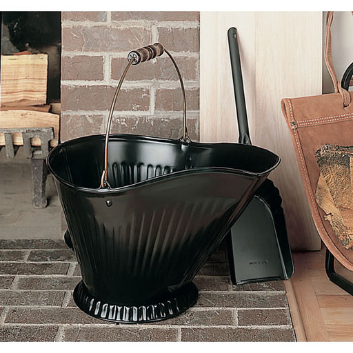 Black Coal Hod & Shovel Set, Brass Bail And Wooden Handle