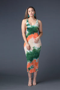 Tie-Dye Open-Back Maxi Dress