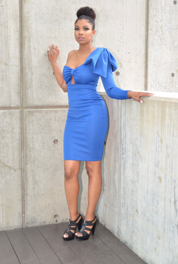 Sapphire Blue Dress w/ Shoulder Bow
