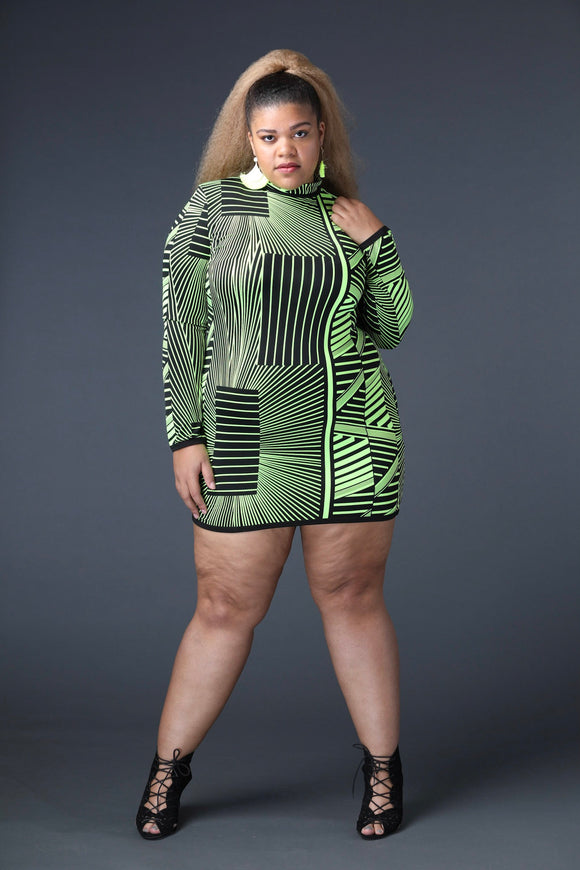 Neon Green Tribal Mini Dress (Plus)