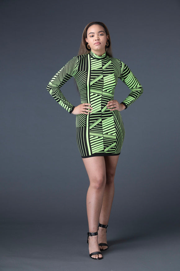 Neon Green Tribal Mini Dress