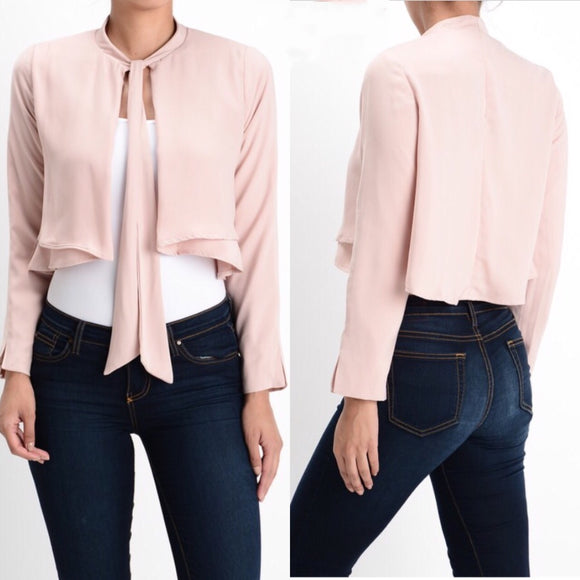 Rose Neck Tie Cropped Blazer