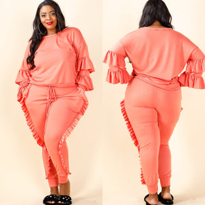 Ruffle My Feathers Pants Set - Coral