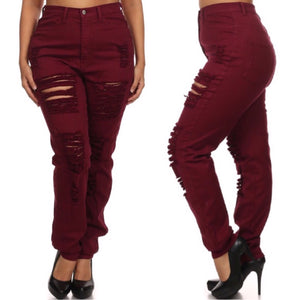 Wine Distressed Jeans