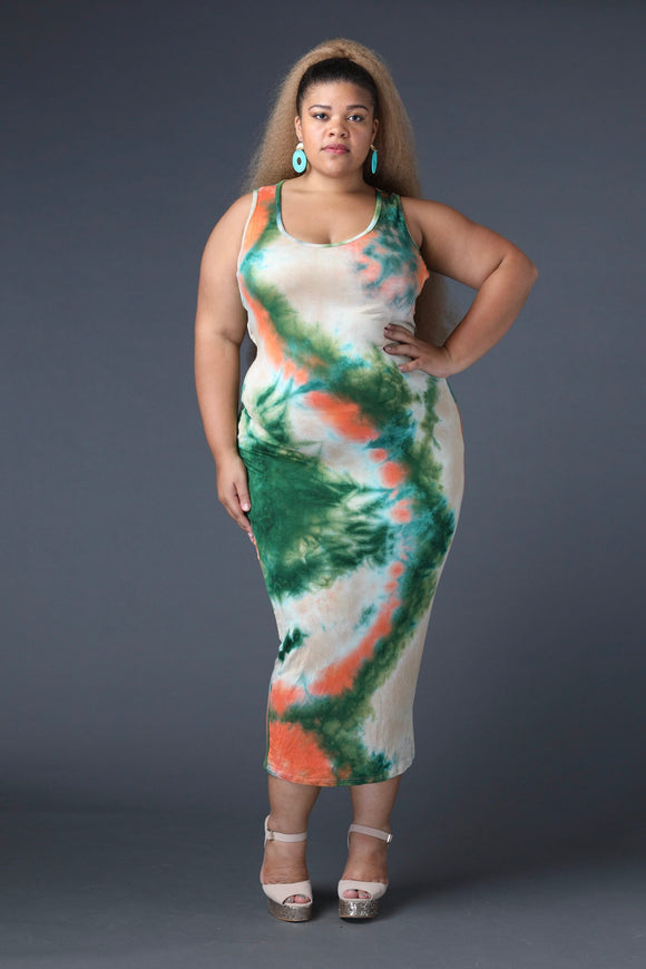 Tie-Dye Open-Back Maxi Dress (Plus)